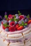 Pavlova με τα φρούτα μούρων Στοκ Εικόνες