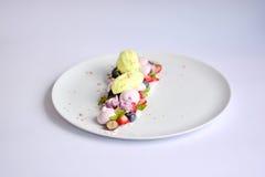 Pavlova   Мороженое базилика   Меренга голубики   Зефиры клубники стоковые изображения rf