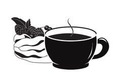 Pavlova чашки кофе и торта стоковая фотография rf