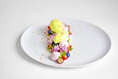 Pavlova | Basil Ice Cream | Blåbärmaräng | Jordgubbemarshmallower Arkivbilder