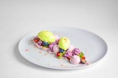 Pavlova | Basil Ice Cream | Blåbärmaräng | Jordgubbemarshmallower Royaltyfri Foto