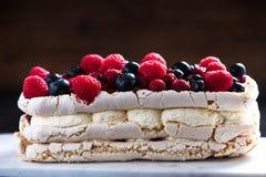 Pavlova with berry fruits Royalty Free Stock Photo