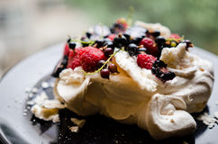 Pavlova cake with berries Stock Image