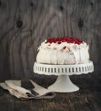 Pavlova cake with pomegranate. Stock Photo
