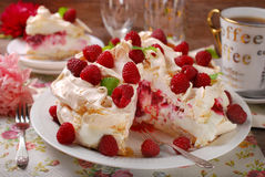 Pavlova cake with raspberries. Meringue  pavlova cake with whipped cream,caramel and fresh raspberries Royalty Free Stock Images