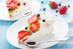 Pavlova cake with strawberry Stock Photos