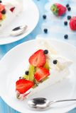 Pavlova cake with strawberry Stock Photo
