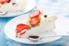 Pavlova cake with strawberry Stock Image