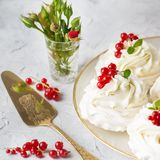Pavlova cakes with cream and fresh summer berries. Close up of Pavlova dessert with forest fruit and mint. Food photo stock image