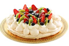 Pavlova dessert berries. Royalty Free Stock Photography