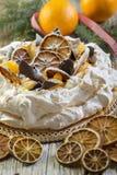 Pavlova dessert for Christmas. Stock Photos