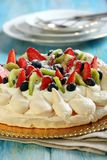 Pavlova dessert with fresh berries. Royalty Free Stock Images