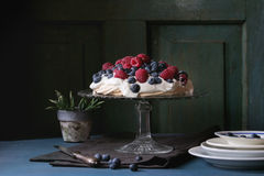 Pavlova dessert with fresh berries Stock Photo