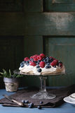 Pavlova dessert with fresh berries Royalty Free Stock Photography