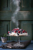 Pavlova dessert with fresh berries Royalty Free Stock Photo