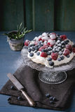 Pavlova dessert with fresh berries Royalty Free Stock Image