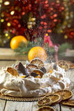 Pavlova dessert with a spicy cream. Royalty Free Stock Photo