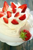 Pavlova dessert with strawberries. Stock Image
