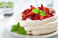 Pavlova with fresh strawberries Stock Images