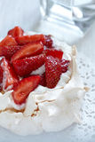 Pavlova with fresh strawberries Royalty Free Stock Photo