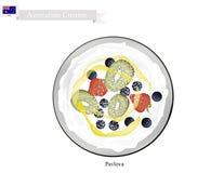 Pavlova marängkaka med Berry Fruits, australisk efterrätt stock illustrationer