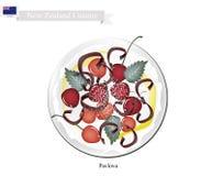 Pavlova marängkaka med körsbär, nyazeeländsk efterrätt royaltyfri illustrationer