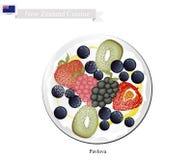 Pavlova Meringue Cake With Berry Fruits, New Zealand Dessert Stock Photo