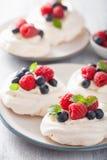 Pavlova meringue cake with cream and berry Stock Image
