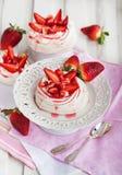 Pavlova meringue cake decorated with fresh strawberry Stock Photography