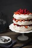Pavlova, Meringue Cake with Fruit and Whipped Cream Royalty Free Stock Photo