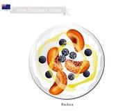 Pavlova Meringue Cake With Ripe Fruits, New Zealand Dessert Stock Photo