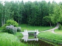 Pavlovsk向桥梁和道路扔石头到森林 免版税库存图片