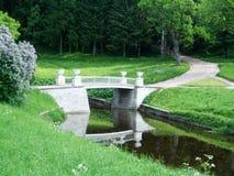 Pavlovsk桥梁和道路向森林 免版税库存图片