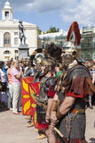 PAVLOVSK,俄罗斯- 2015年7月18日:战士军史俱乐部Legio v Macedonica照片  免版税图库摄影