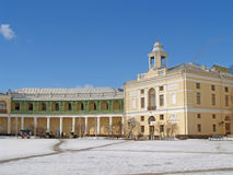 Pavlovsk. Gallery colonnade and wing of the Big palace Stock Photos