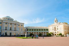 Pavlovsk Palace and monument to emperor Paul I in Pavlovsk, St Petersburg Russia. View of Pavlovsk Palace. PAVLOVSK, RUSSIA - SEPTEMBER 21, 2017. View of stock images
