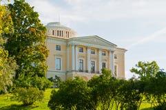 Pavlovsk Palace - summer palace of Emperor Paul I in Pavlovsk near St Petersburg Russia. PAVLOVSK, RUSSIA - SEPTEMBER 21, 2017. Pavlovsk Palace in the Pavlovsk stock photos
