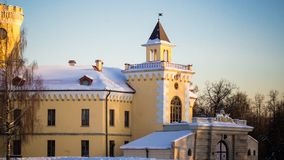 PAVLOVSK, ST PÉTERSBOURG, RUSSIE - 21 février 2018 : Vue au château de Bip dans un jour de printemps Le château a été construit e Image libre de droits