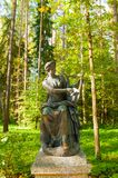 Bronze sculpture of Terpsichore - the muse of dance. Old Silvia park in Pavlovsk, St Petersburg region, Russia stock image