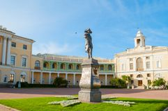 Monument to emperor Paul I in front of Pavlovsk Palace, summer palace of emperor in Pavlovsk, St Petersburg, Russia. Pavlovsk, St Petersburg, Russia - September stock image