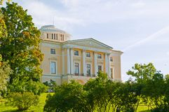 Pavlovsk Palace at the Pavlovsk park territory. It is the summer palace of Emperor Paul I in Pavlovsk, Russia. Pavlovsk, St Petersburg, Russia - September 21 stock images