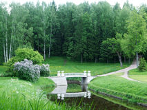 Pavlovsk  Stone Bridge and path to the forest Royalty Free Stock Image