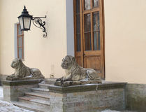 Pavlovsk. Two stone lions on a porch of the Big palace Stock Photography