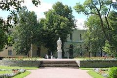Statue `Justice` in Big Circles. Pavlovsky Park. The city of Pavlovsk. Pavlovsky Park - a landscape park as part of the Pavlovsk State Museum-Reserve. Located royalty free stock photos