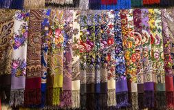 Pavlovsky Posad`s shawls at the trade exhibition, Moscow. Russia Stock Images