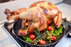 Pavo adornado y de la carne asada en un fondo borroso Acción de gracias Turquía del primer Pato relleno la Navidad Fotos de archivo