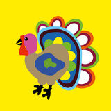 Pavo de la historieta del ejemplo del vector Concepto feliz del día de la acción de gracias Fondo amarillo stock de ilustración