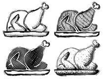 Pavo dibujado mano de la carne asada Imagen de archivo libre de regalías