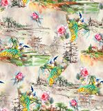 Pavo real abstracto incons?til del fondo de la naturaleza con la flor color de rosa stock de ilustración