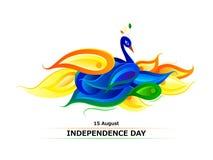 Pavo real coloreado bandera india libre illustration
